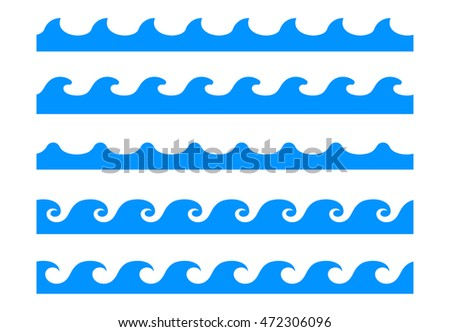 Seamless wave patterns vector isolated