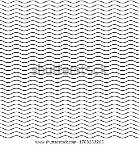Seamless wavy line pattern. Black horizontal lines. Horizontally seamless. Vector illustration. Foto stock ©