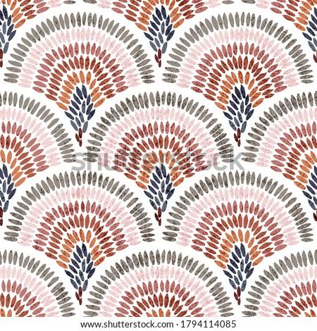 Seamless wavy pattern. Seigaiha print in polka dot style. Grunge texture.