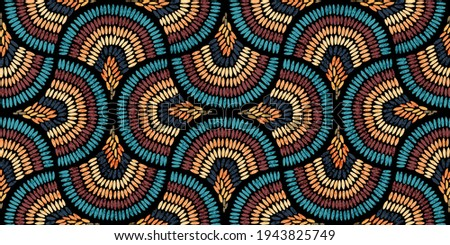 Seamless wavy pattern. Seigaiha print in polka dot style. Grunge texture. Bohemian ornament for home textiles, packaging, carpets. Vector illustration.