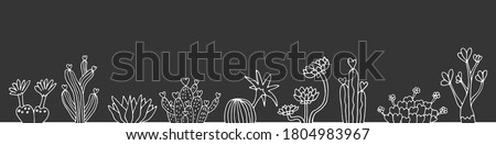 seamless web banner cacti and succulents.hand drawn cacti on a chalkboard background.dark background with cacti for web page.pattern seamless cacti on a dark background.poster on a dark  Stock photo ©