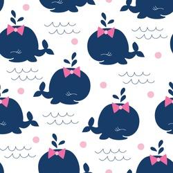 seamless whale girl pattern vector illustration
