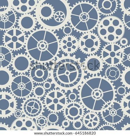 Seamless wheel gear machine pattern industry concept illustration. Mechanism clock texture art silhouette business shape