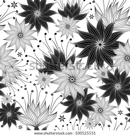 Seamless white and black floral pattern with vintage flowers (vector)