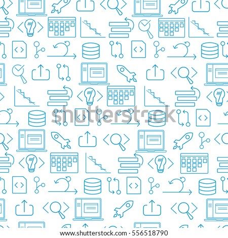 Seamless white and blue background for websites and banners with agile software development line icons such as: laptop, scrum task board, testing, coding, release, burndown chart and other agile icons