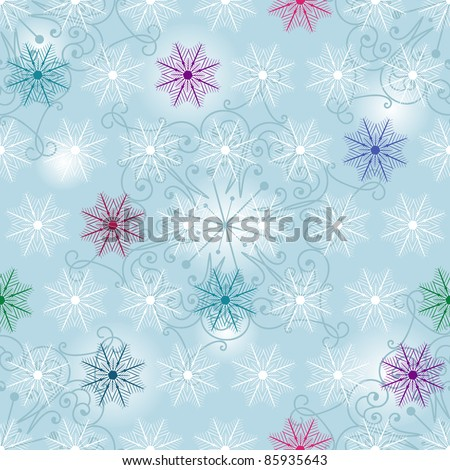 Seamless white-blue Christmas pattern with colorful snowflakes (vector)