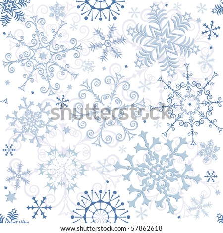 Seamless white-blue pastel Christmas pattern (vector)