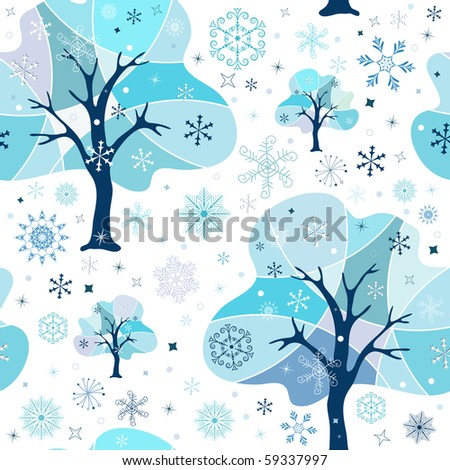 Seamless white-blue winter pattern (vector)