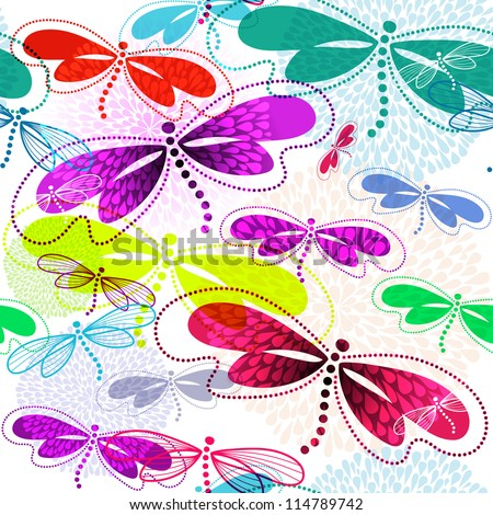 Seamless white pattern with vivid translucent colorful dragonflies and fireworks (vector EPS 10)
