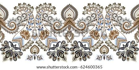 seamless wide border with ornate paisley in beige tint, decorative blue elements