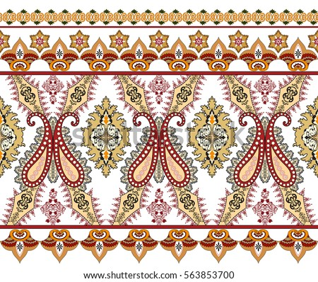 seamless wide border with  paisley,decorated  festoons and small elements in yellow burgundy tones