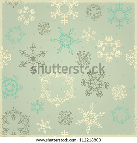 Seamless winter background with snowflakes, retro calm-colored