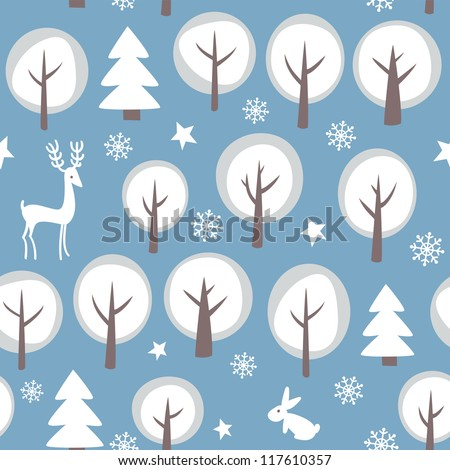 Seamless  winter forest background.  Vector illustration.