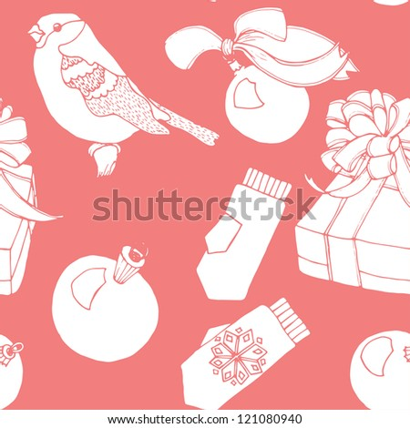 Seamless winter holiday pattern in vector