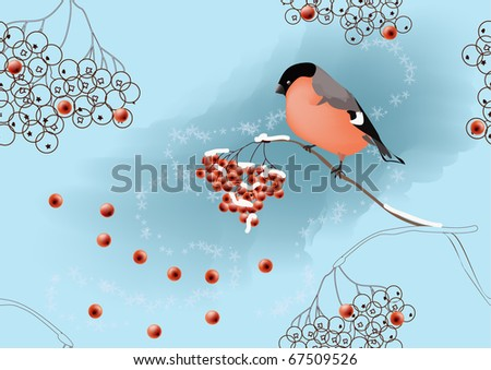 Seamless winter landscape with bullfinch sitting on ashberry branch.