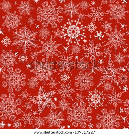 seamless winter pattern with blue snowflakes on red background