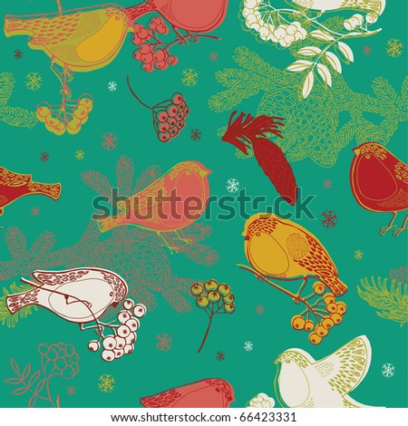 Seamless winter pattern with bullfinches and rowan