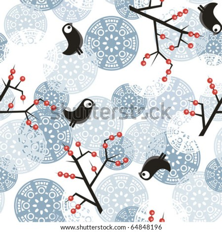 Seamless winter pattern with bush, birds, berries and snowflakes. Vector illustration.