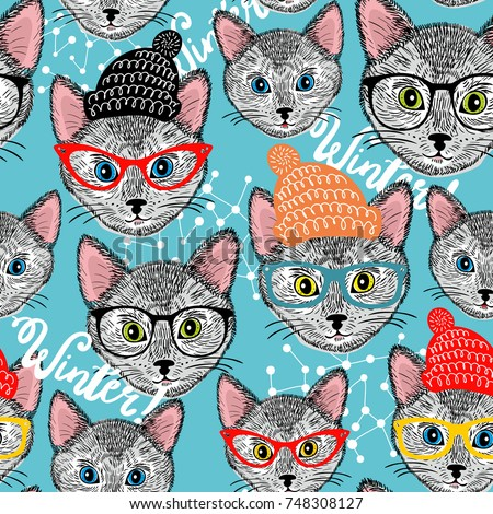 seamless winter pattern with