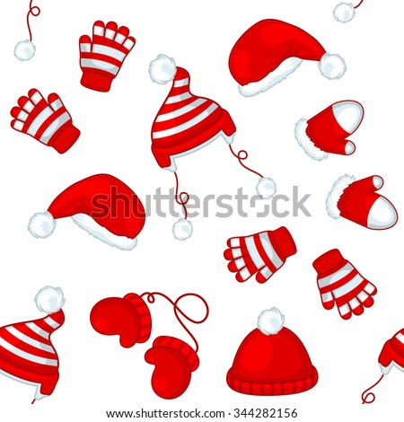 Seamless winter pattern with red hats and gloves