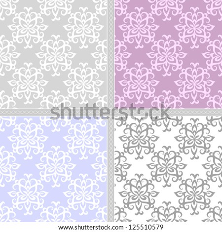 Seamless winter vintage damask pattern. Seamless pattern can be used for wallpaper, pattern fills, web page background,surface textures, wrapping paper, invitations. Floral textile background