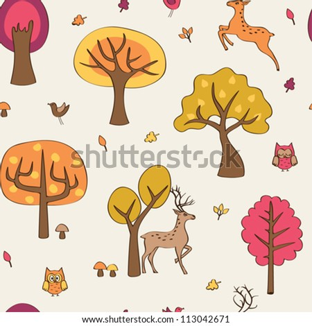 Seamless with autumn forest and deer