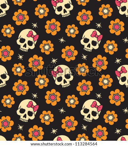 Seamless with flowers and skulls. Vector version.
