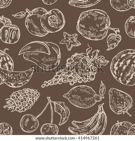 Seamless with fruits . hand drawn #414967261