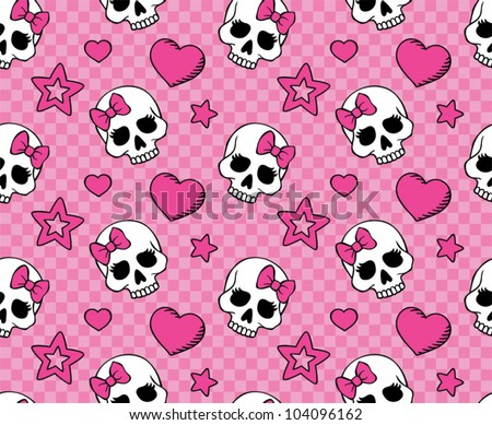 seamless with hearts and skulls