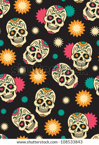 Seamless with sugar skulls. Vector version.