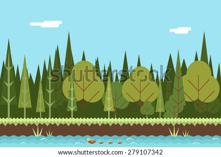 seamless wood and river nature