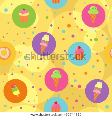Seamless yellow cute pastry background