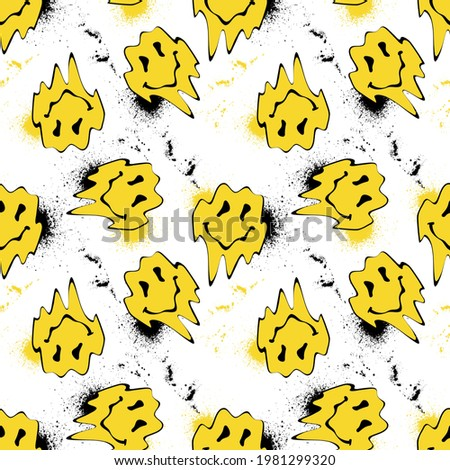 Seamless yellow distorted melting smiley face illustration pattern with graffiti splash for fabric - wallpaper or wrapping paper
