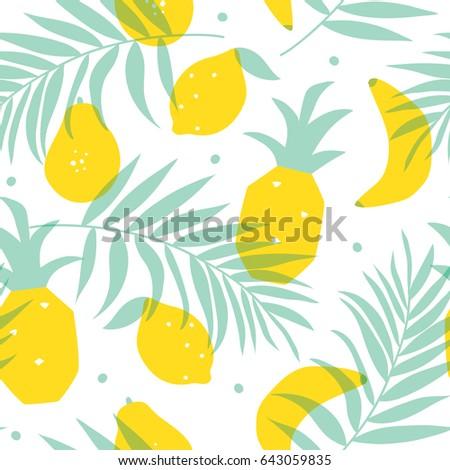 seamless yellow fruits pattern vector illustration