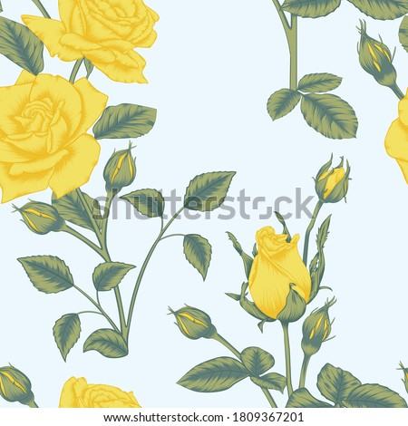 seamless yellow rose and rose