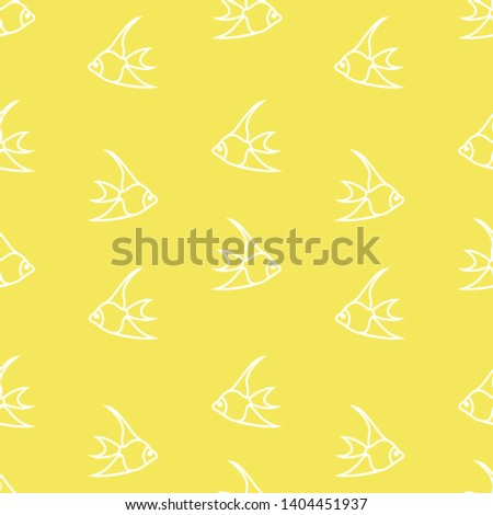 Seamless yellow simple pattern with simple fishes background