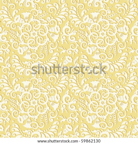 Seamless (you see 4 tiles) vector decorative pattern or background - vintage style floral scrolls and swirls ( for high res JPEG or TIFF see image 59862133 )