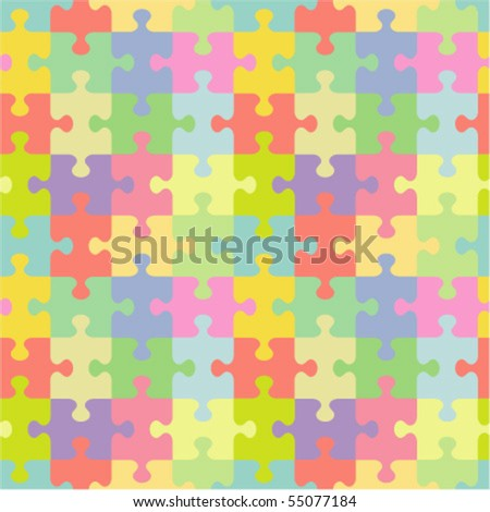 Seamless (you see 4 tiles) vector jigsaw puzzle pattern (print, background, wallpaper, swatch)