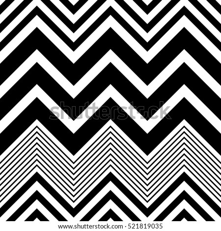 Seamless Zig Zag Pattern. Abstract  Monochrome Background. Vector Regular Texture. Minimal Geometric Stripe Wallpaper