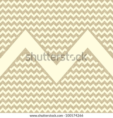Seamless zigzag pattern on linen canvas background. Vintage rustic burlap chevron. eps 10