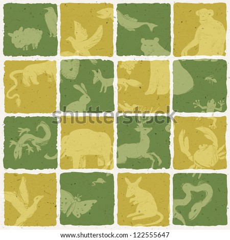 Seamless zoo themed pattern. Vector