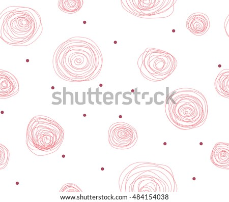 Seamlessly tileable pattern of scribble roses and dots.