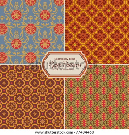 seamlessly tiling retro patterns - set of four designs (tiles saved in the color/patterns palette)