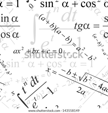 Seamlessly wallpaper with mathematical formulas on white