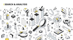 Search and analysis concept. Analyzing business data, gathering, and researching statistics. Isometric line art illustration