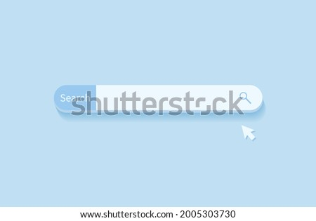 Search bar design element. Search Bar for website and UI, mobile apps isolated on blue background. Vector illustration