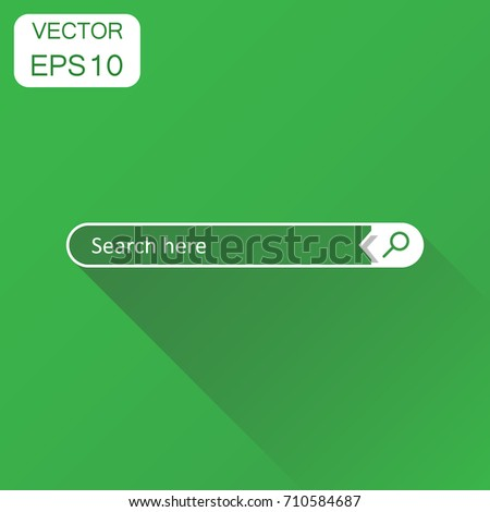 Search bar field icon. Business concept interface element with search button pictogram. Vector illustration on green background with long shadow.