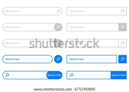 Search Bar for UI. Set of elements for design interface of website. Vector illustration.