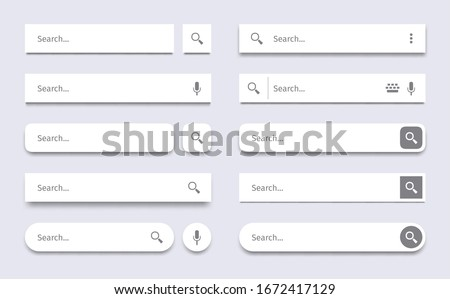 Search bar. Searching panel, website ui bars with shadows and quick search boxes template vector set. Search bar for web site interface, button panel illustration