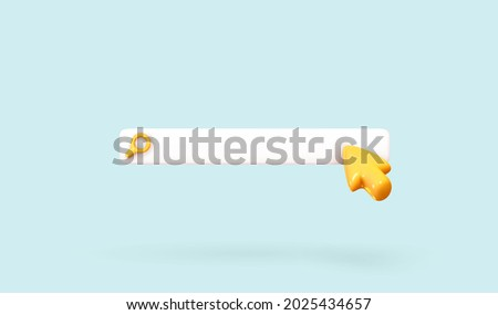 Search bar template for website. Navigation search for browser. Realistic 3d arrow, cursor. Pastel Soft colors yellow and blue background. Creative concept design in cartoon style. Vector illustration